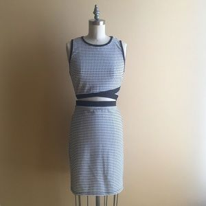 F21 Two Piece Grid Pattern Top/Skirt Set